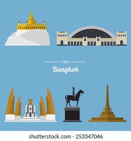 Icon set of Bangkok city landmark in flat design. Capital of Thailand. Vector. Illustration