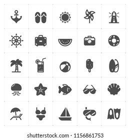 Icon set - Beach filled icon style vector illustration on white background