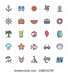Icon set - Beach full color outline stroke vector illustration on white background