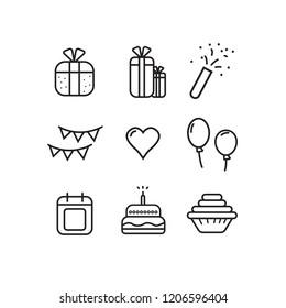 icon set birthday vector design