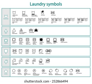 Icon set of black laundry symbols for washing, drying, cleaning, bleaching, ironing. Collection of cloth care symbol. Vector art image illustration, detail graphic design, isolated on white background