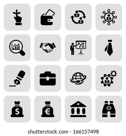 icon set in black with a square for business and human resources