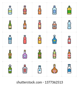 Icon set - bottle and beverage outline stroke full color vector illustration on white background