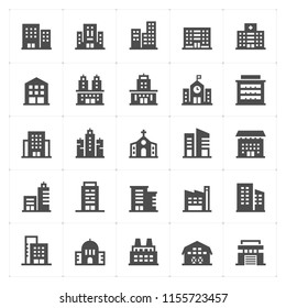 Icon set - Building filled icon style vector illustration on white background