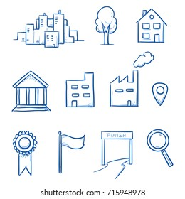 Icon set with buildings and location icons, as industry, office, house, city, finish, flag tree and badge. Hand drawn line art cartoon vector illustration.