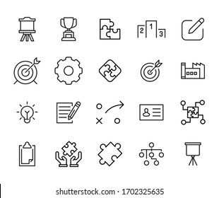 Icon set of business. Editable vector pictograms isolated on a white background. Trendy outline symbols for mobile apps and website design. Premium pack of icons in trendy line style.