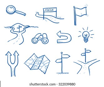 Icon set business search & decision with spy glass, idea bulb, magnifier, road crotch, flag, finish, map. hand drawn vector doodle