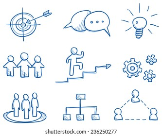 Icon set business strategy & teamwork with idea light bulb, gear wheel, target, speech bubble, hand drawn vector doodle