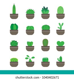 Icon set of cactus in pot,simple color art graphic style
