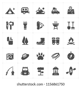 Icon set - Camping filled icon style vector illustration on white background