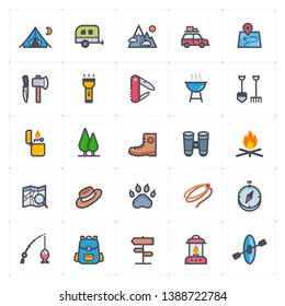 Icon set - Camping full color outline stroke vector illustration on white background