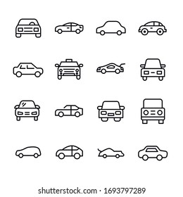 Icon set of car. Editable vector pictograms isolated on a white background. Trendy outline symbols for mobile apps and website design. Premium pack of icons in trendy line style.