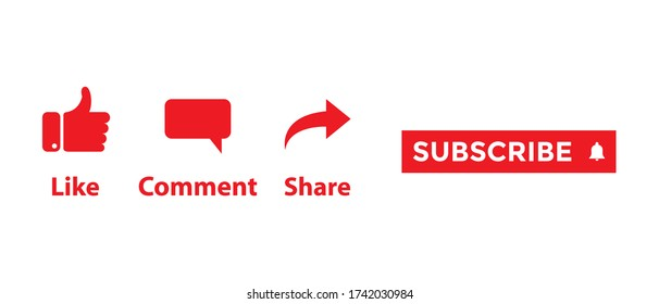 Icon Set for Channel and Social Media. Like, Comment, Share and Subscribe Button Vector
