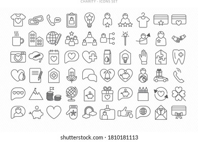 Icon Set Charity Work, Voluntary and Non-profit Organisations