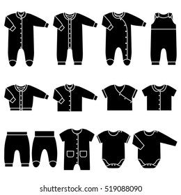 Icon set children's clothes for newborn baby girl or boy. Overalls, shirt, rompers, pants and baby's loose jacket. Collection of black clothing on white background. Vector illustration.