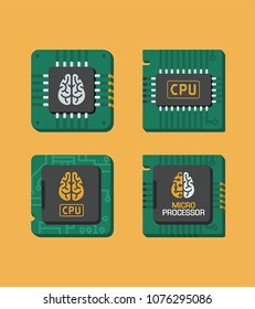Icon set of chips. A processor on a computer board with micro processor inscriptions, CPU and brain sign.