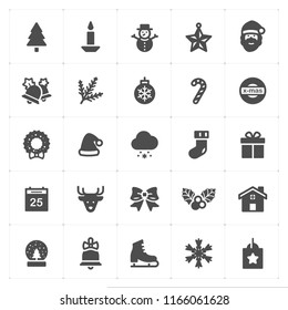 Icon set - Christmas filled icon style vector illustration on white background