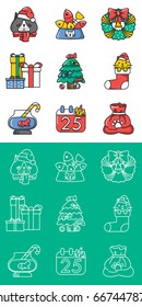 Icon set Christmas's cat lover concept, vector and line art.