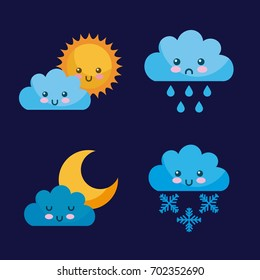 icon set Climate objects cartoon