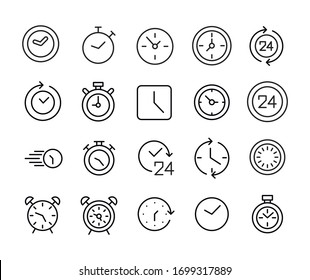 Icon set of clock. Editable vector pictograms isolated on a white background. Trendy outline symbols for mobile apps and website design. Premium pack of icons in trendy line style.