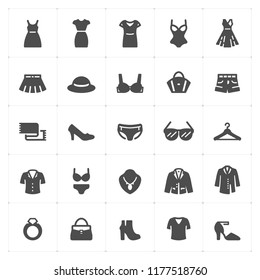 Icon set - Clothing Woman filled icon style vector illustration on white background