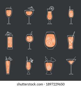 icon set of cocktail drinks over black background, colorful design, vector illustration