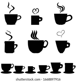 icon set of coffee cups and saucers, vector illustration of hot coffee cups silhouettes