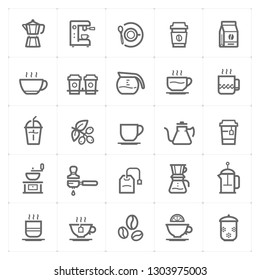 Icon set – coffee and tea outline stroke vector illustration on white background