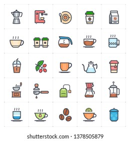 Icon set - coffee and tea outline stroke color vector illustration on white background