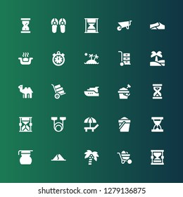 icon set. Collection of 25 filled sand icons included Hourglass, Wheelbarrow, Coconut tree, Dune, Measuring glass, Sand clock, Sand, Beach, Resistance, Sandclock, Sand bucket