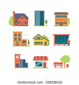 An icon set of colorful houses, EPS 10, no transparencies