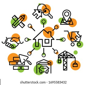 Icon set construction of a house, home building process.