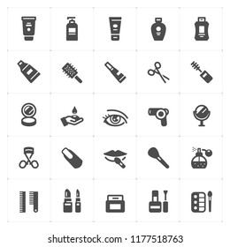 Icon set - Cosmetic filled icon style vector illustration on white background