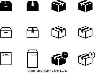 Icon set of courier, parcel, mail, box, postcard, envelope, etc.