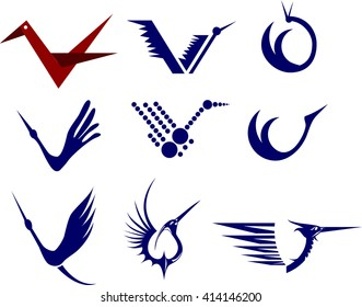 Icon Set of Cranes. Blue color simple vector illustrations.