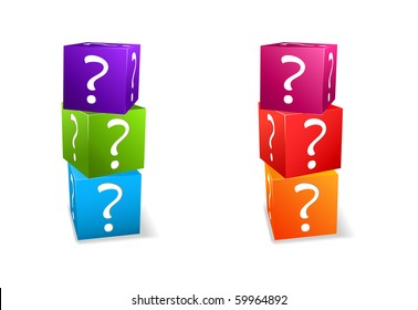 icon set cubes with question mark isolated on white background