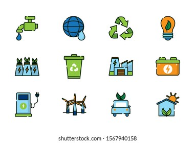 Icon set design, Ecology renewable conservation saving support solution and bio theme Vector illustration