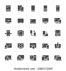 Icon set - device and responsive filled icon style vector illustration on white background