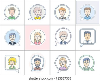 Icon set of different faces. Chat bubbles with avatars symbol. Vector icon of chat communication symbol. Vector illustration of call center operators. Men and women vector icons.