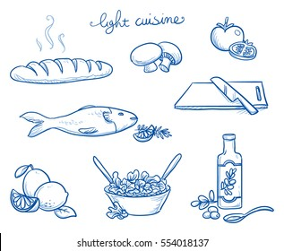 Icon set of different food and cooking objects from the light french cuisine as vegetables, fish, oil and fresh salads. Hand drawn doodle vector illustration.