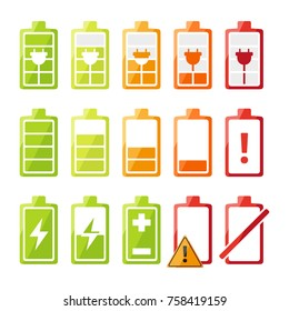 Icon set with different status of battery charger for mobile phone or smartphone. Vector recharge electronic status illustration