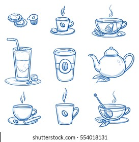 Icon set of different tea and coffee specialties in cups and glasses, a tea pot and a coffee-to-go mug. Hand drawn doodle vector illustration.