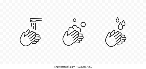 Icon set of disease prevention protect. Vector sanitizer, antiseptic, antibacterial symbols. Healthcare wash hands with rinse water, tap, soap safety icons.
