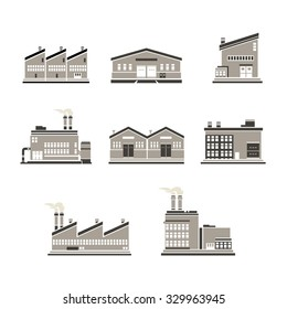 Icon set of distribution warehouse and factories.  Factory distribution warehouse icon illustrations.  Manufacturer production facility distributing goods.