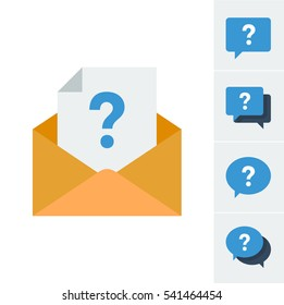 Icon set with a document with a question mark in an envelope and alternative icons with speech bubbles symbolizing having an enquiry
