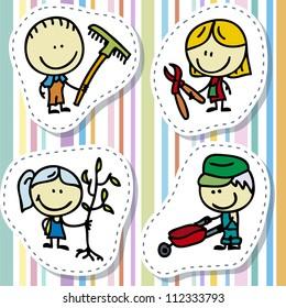 Icon set of doodle happy children with garden tools