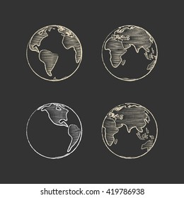 Icon set of Earth globe. Simple chalk line. White icon on a black background.
