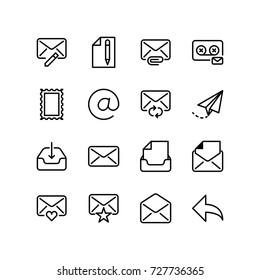 Icon set of email and communication