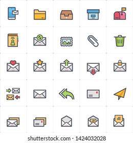Icon set - email and letter outline stroke full color vector illustration