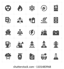 Icon set - energy and power filled icon style vector illustration on white background